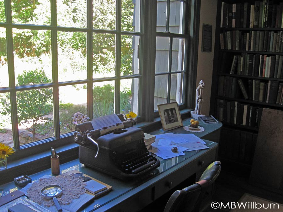 The desk of 20th century garden writer Elizabeth Lawrence faced her garden 'laboratory,' inspiring her writing and providing beautiful views.