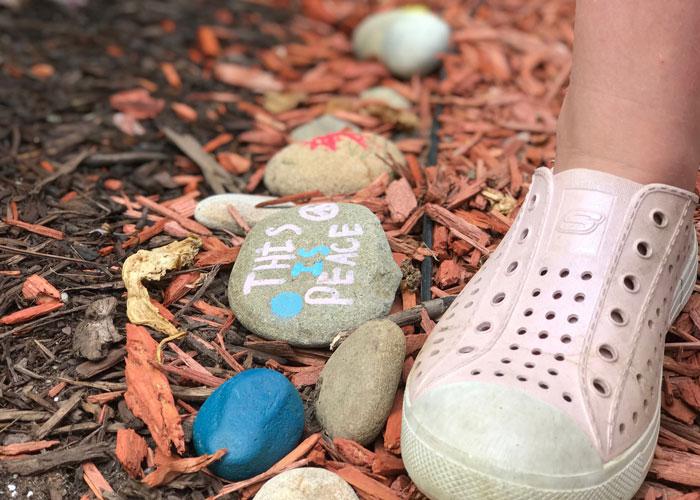 peace rocks, peace garden, children garden