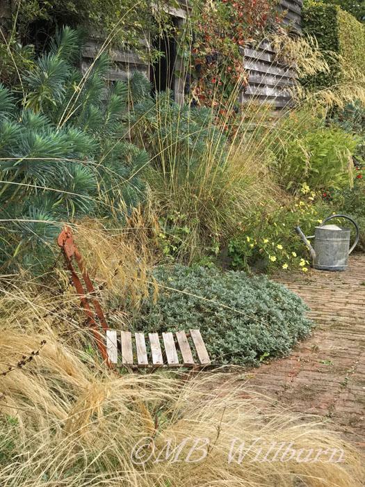 Jardin Plume, Normandy, garden seat