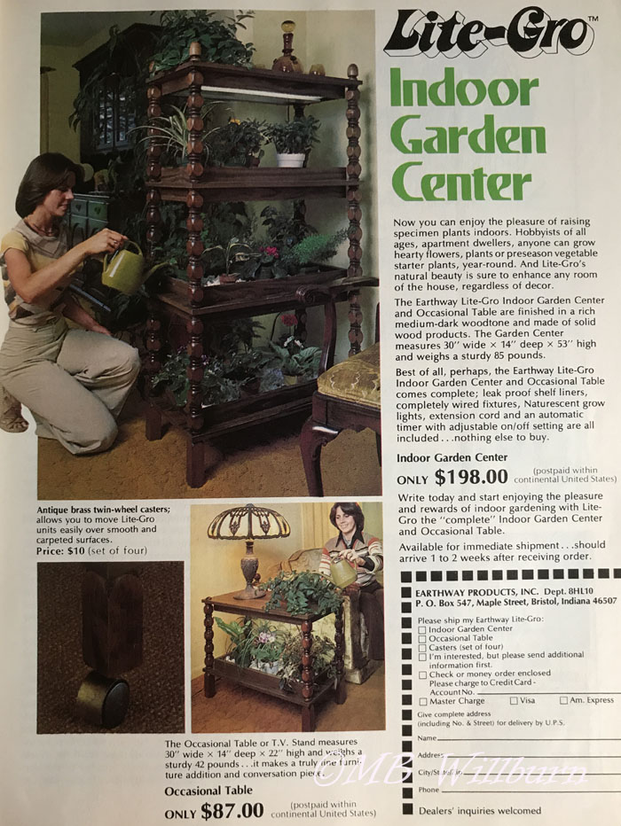 indoor garden center, 1970s furniture, houseplants