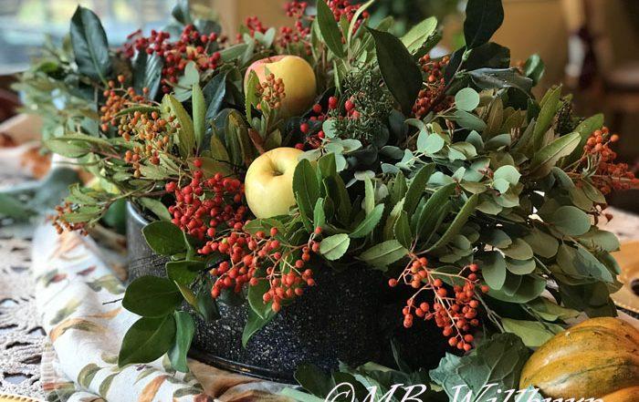 thanksgiving table arrangement, natural materials, decorating, thanksgiving