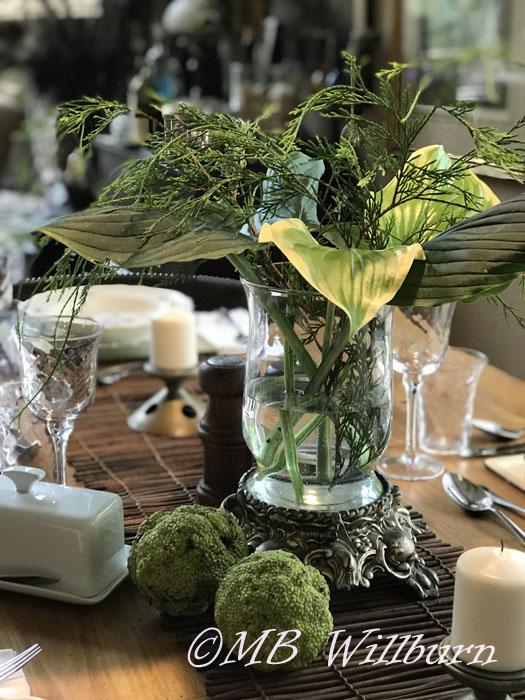 floral arrangement, tablescape, osage orange, hosta arrangement