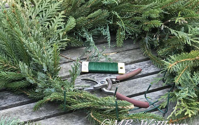 christmas wreath, holiday wreath making, natural wreath