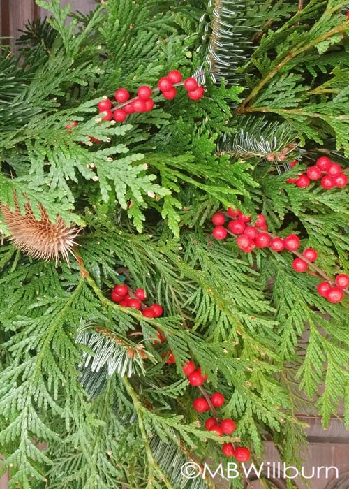 christmas wreath, holiday wreath making, natural wreath