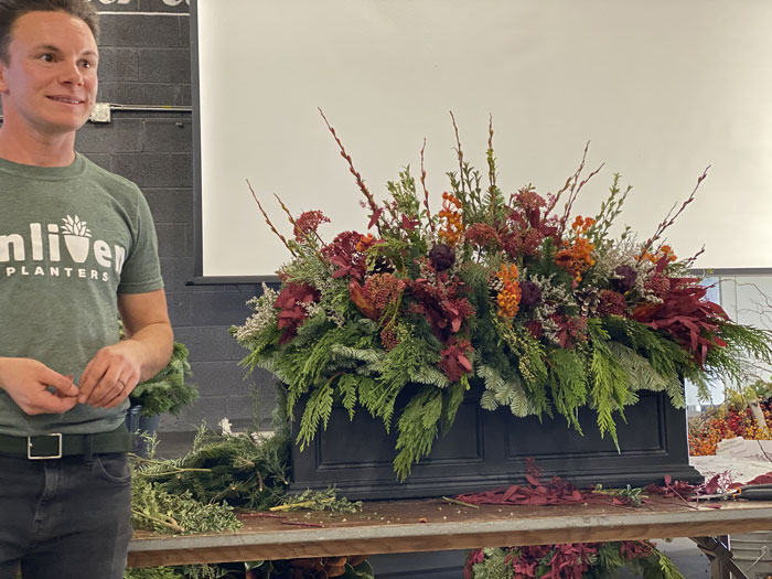 holiday arrangement, enliven planters