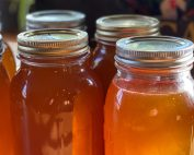 Images of rural life - honey jars waiting for the pantry