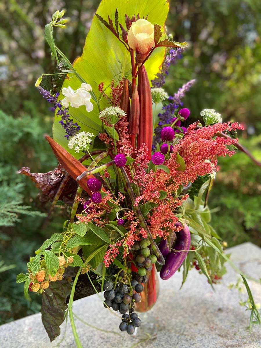 Vegetable and Flower Arrangement
